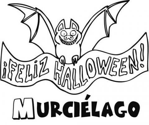 Dibujo con cartel de Halloween para pintar