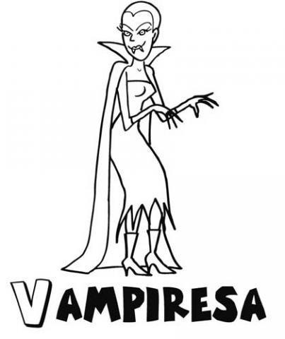 Vampiresa. Dibujo infantil de Halloween