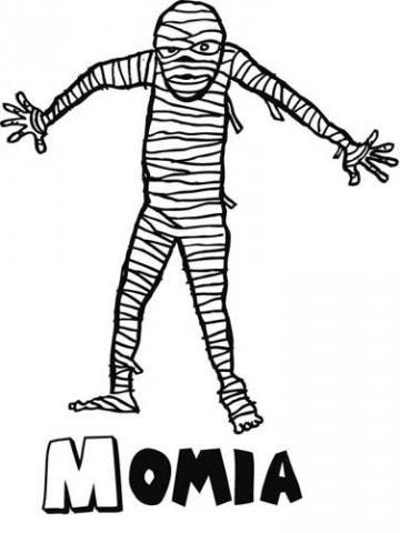 Momia para colorear. Dibujos de Halloween
