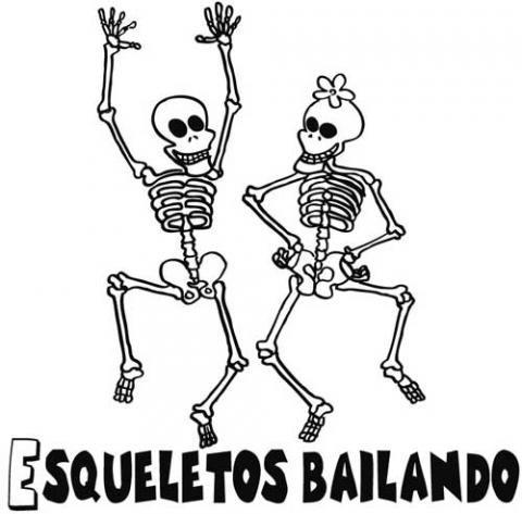 Esqueletos bailando. Dibujo infantil de Halloween