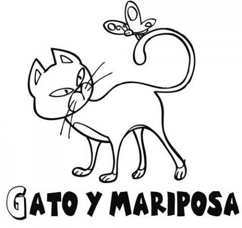 Mariposa y gato: Dibujos para colorear
