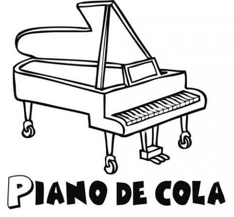 Dibujo de un piano de cola, instrumentos musicales para colorear