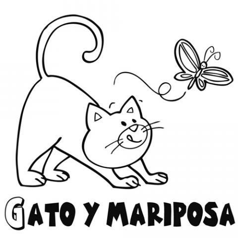 Gato persiguiendo a mariposa: Dibujos para colorear