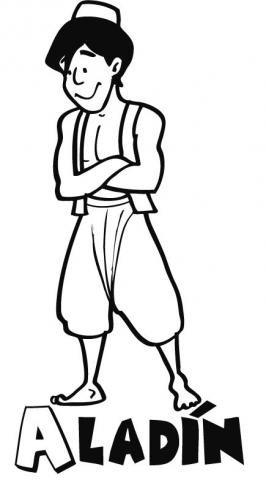Dibujo del cuento Aladín para colorear con los niños