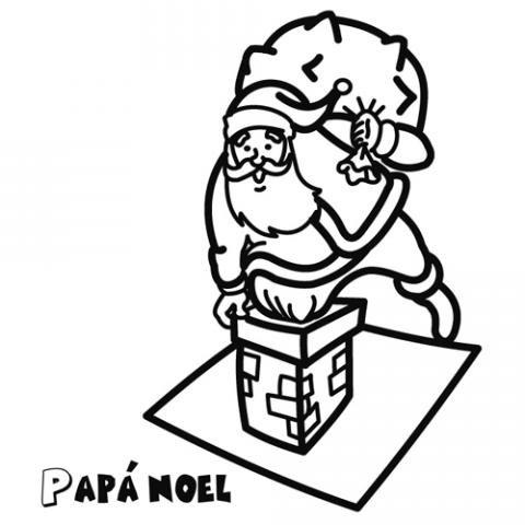 Papá Noel bajando por la chimenea. Dibujo para niños