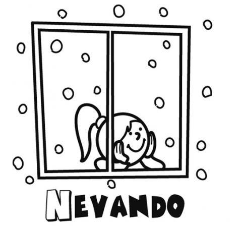 Dibujo De Niña Mirando La Nieve Por La Ventana En Navidad