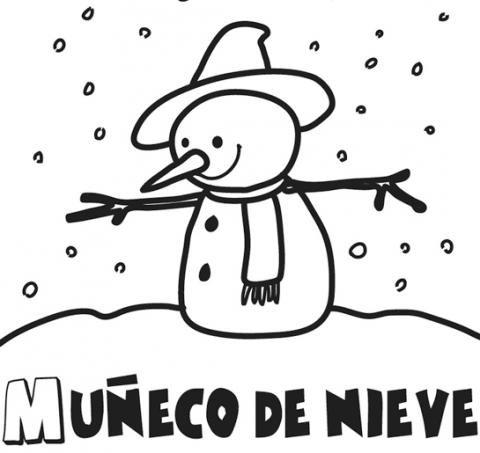 Imprimir: Dibujo infantil del muñeco de nieve de Navidad