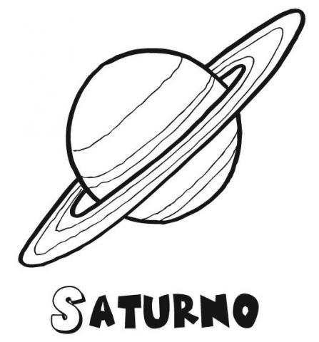 Dibujo de Saturno, imágenes de planetas y el espacio para colorear