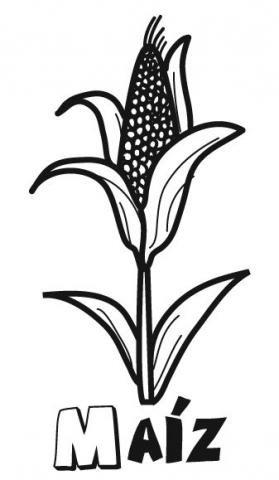 Dibujo de maíz para imprimir y colorear. Dibujos de alimentos para niños