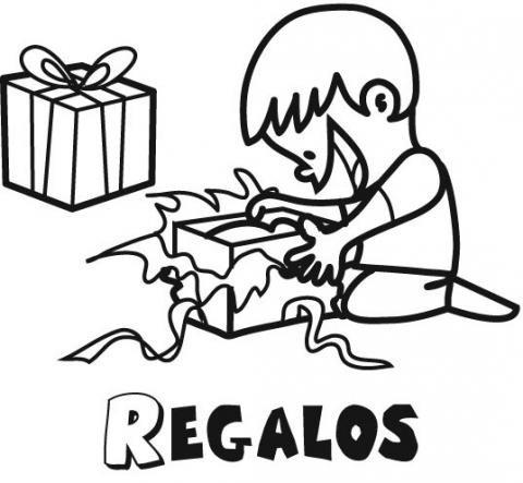Regalos de Navidad para un niño. Dibujos para colorear
