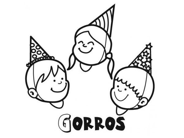 Dibujo de niños con gorros de Carnaval para imprimir y colorear