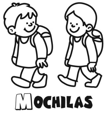 para colorear de niños con mochilas yendo al colegio