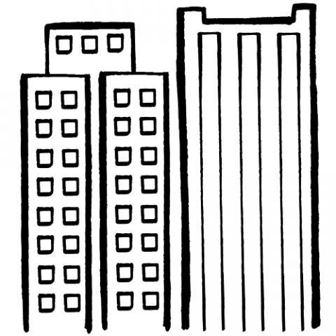 Dibujo para pintar de un rascacielos y edificios en la ciudad