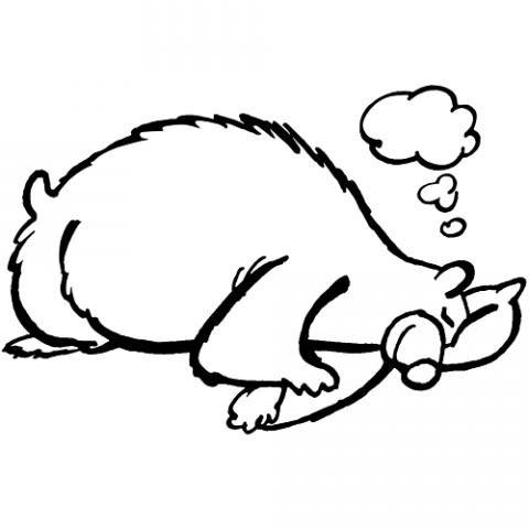 Worksheet. Oso hibernando en otoo Dibujos para colorear