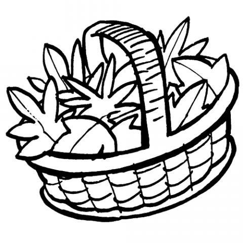 Imprimir: Cesto de hojas en otoño: Dibujos para colorear