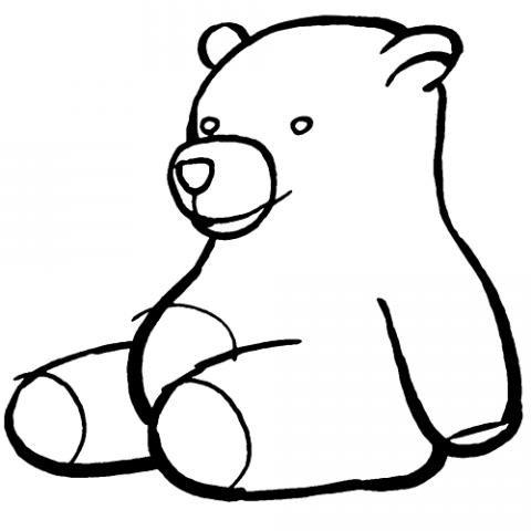 Dibujo de osito de peluche para colorear con los niños