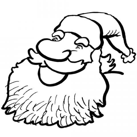 Papá Noel sonriendo. Dibujos de Navidad para colorear