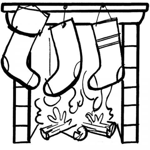 Calcetines en la chimenea Dibujos para colorear
