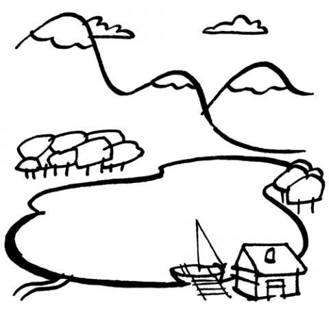 Dibujo para colorear de paisajes con lago para niños