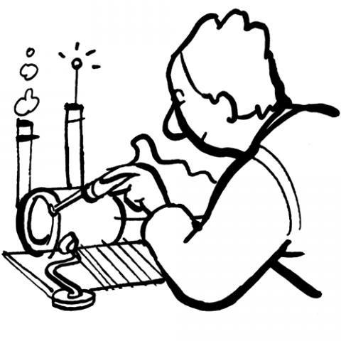 Dibujo para imprimir y pintar con los niños de un inventor
