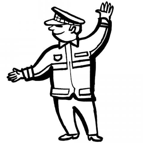 Dibujo en un policía para imprimir y pintar gratis con los niños