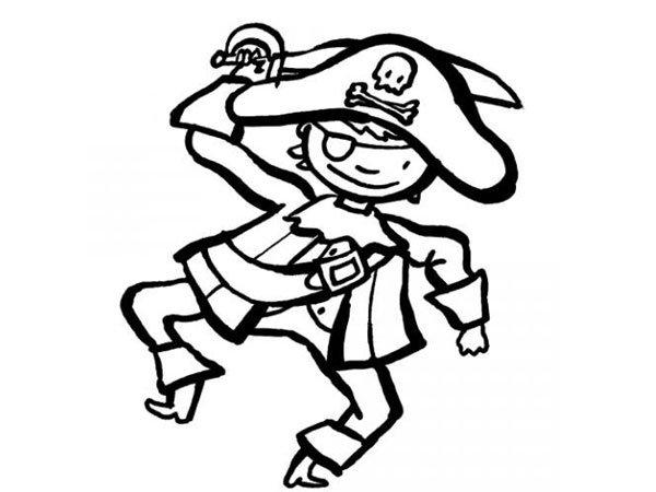 Dibujo de un disfraz de pirata para colorear con los niños