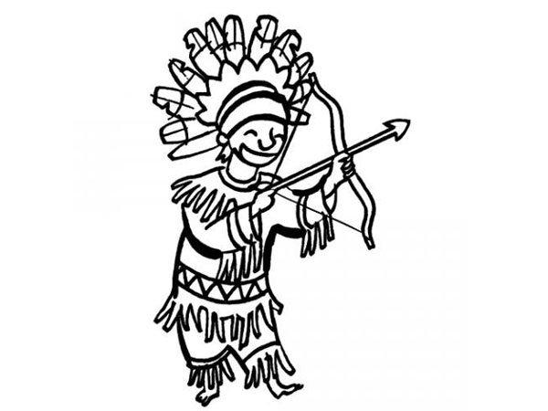 Dibujo de un disfraz de indio para colorear con niños en Carnaval