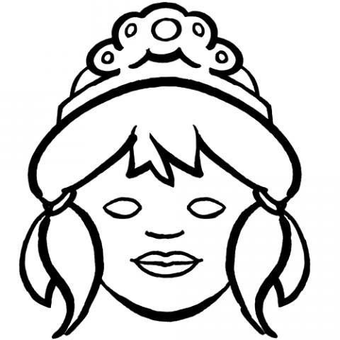 Imprimir Careta de princesa para colorear con los nios Dibujos