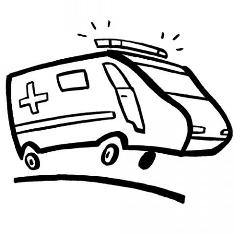 Dibujo de una ambulancia para imprimir y colorear con los niños