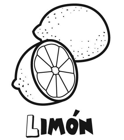 de limón para colorear. Dibujos infantiles de frutas
