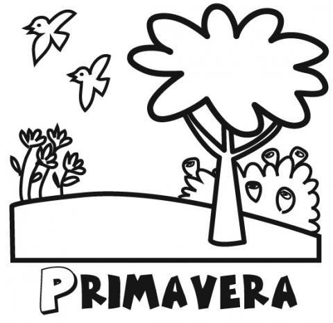 Dibujo para imprimir y colorear de paisaje de primavera