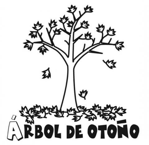 Imprimir: Dibujos de árbol en otoño para colorear con los niños