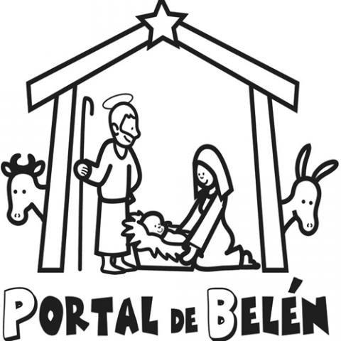 Imagen navideña del Portal de Belén para colorear