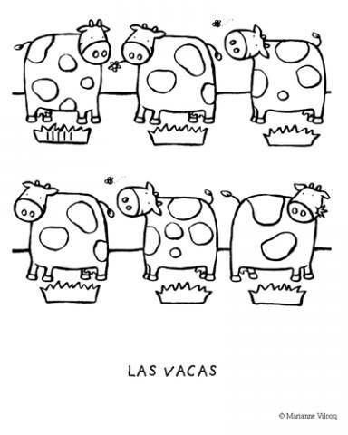Vacas en el prado: Dibujos para colorear