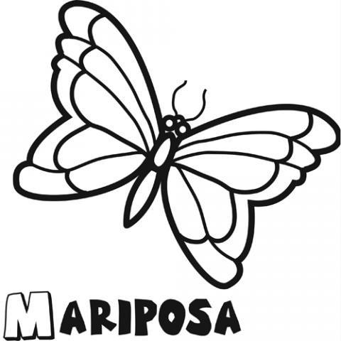 Dibujo infantil de mariposa para colorear. Dibujos de animales para niños
