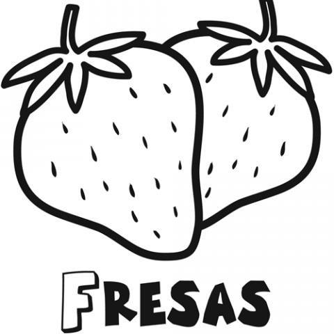 Dibujo para imprimir y colorear de fresas. Dibujos de frutas