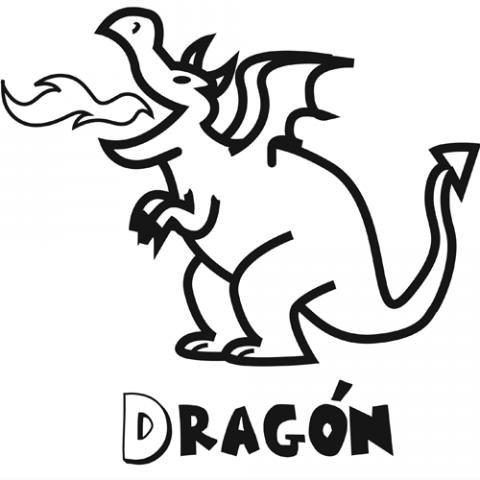 Dibujo para colorear con niños de un dragón