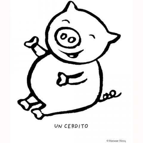 Dibujos de un cerdito para colorear por los niños