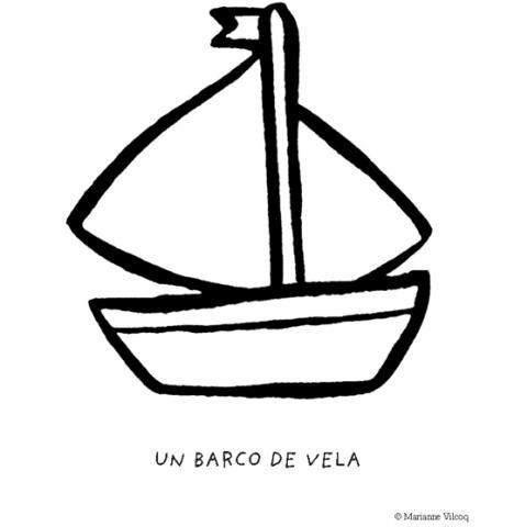 Dibujos infantiles de un barco de vela para imprimir y colorear