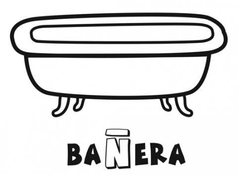 Bañera para colorear. Imprime y pinta este objeto del baño