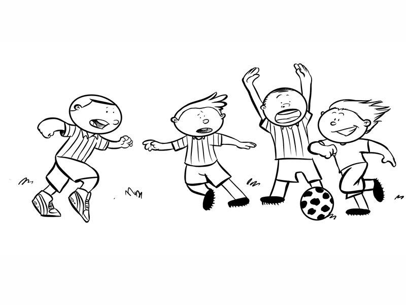 Niños jugando al fútbol. Dibujo de deportes para pintar