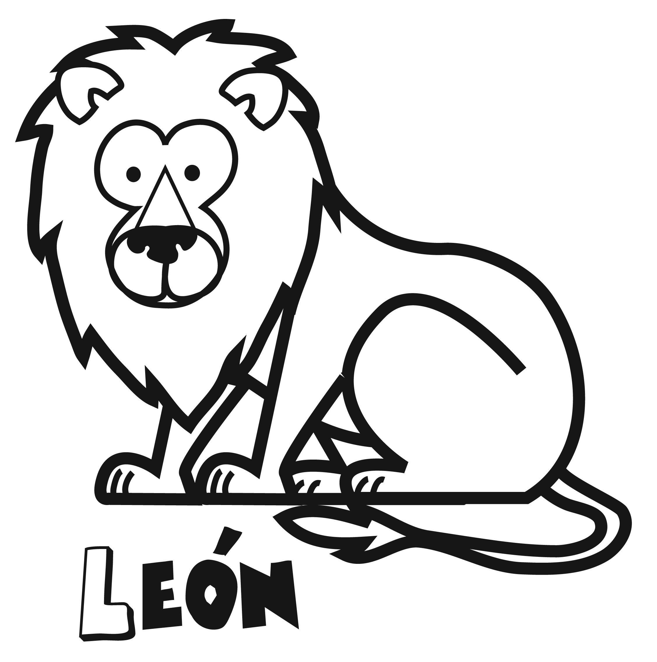 de león para imprimir y colorear. Dibujos de animales
