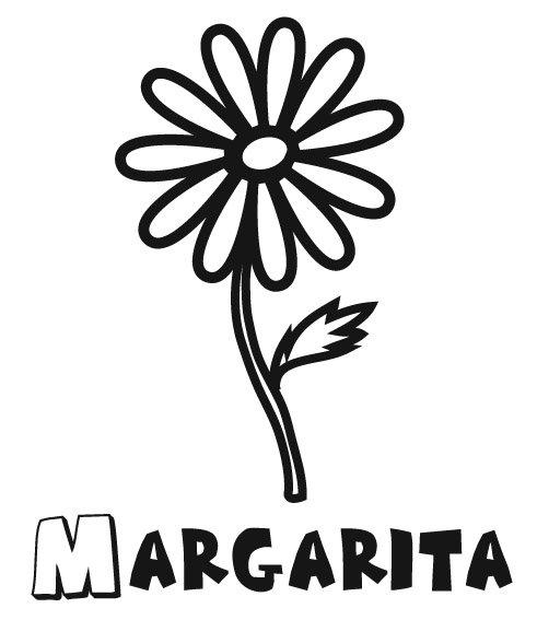 Dibujo de margarita, una flor para imprimir y pintar