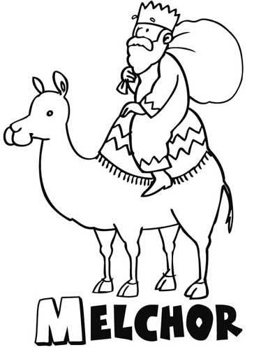 Dibujo del Rey Melchor para los niños