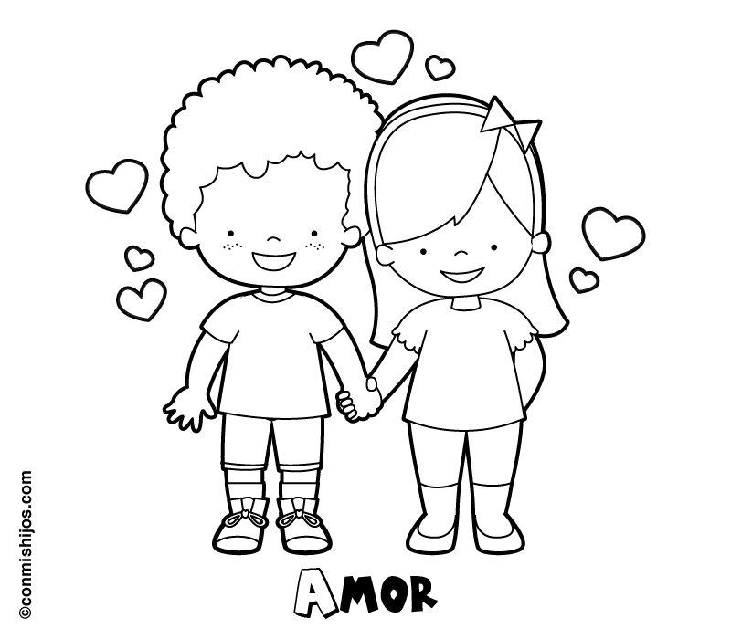 Dibujo de niños enamorados para pintar en San Valentín