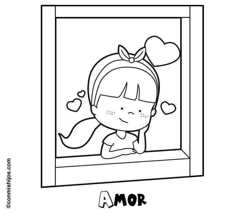 Dibujo de una niña enamorada mirando por la ventana para colorear