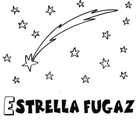 Dibujo de una estrella fugaz para colorear. Dibujos del espacio