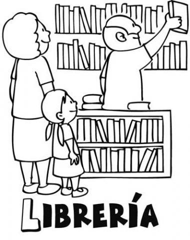 Dibujos para colorear de ni os en una librer a dibujos de tiendas - Almacen de libreria ...