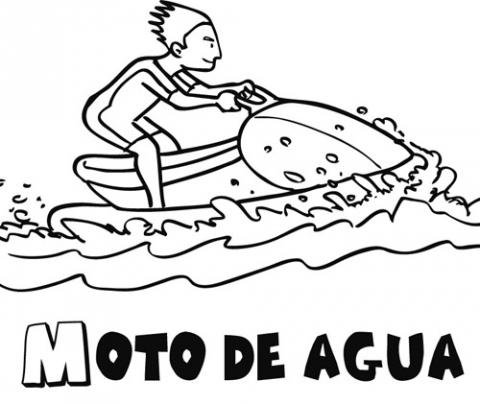 Dibujo de moto de agua para imprimir y pintar. Dibujo de mar