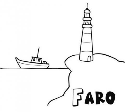 Dibujo de faro y barco para imprimir y pintar. Dibujos del mar para niños